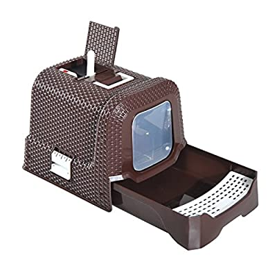 PawHut Pet Cat Litter Box 54L × 42W × 41H cm with Scoop Coffee