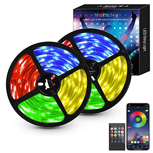 Led strip10M (2x5m), 5050RGB led lichterkette, Bluetooth Kontrolliert LED Streifen mit Fernbedienung Lichterschlauch, Wasserdicht Lichterkette für Raum, Fest, Party, Haus Deko [Energieklasse A+]