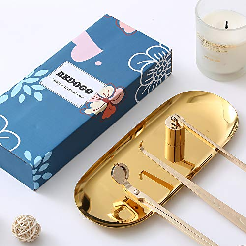 BEDOGO 4 in 1 Candle Accessory Set - Candle Wick Trimmer,Candle Wick Dipper,Candle Wick Snuffer,Storage Tray Plate - Candle Care Tools - Elegant Gift for Candle Lovers and Aromatherapy Lovers (Gold)