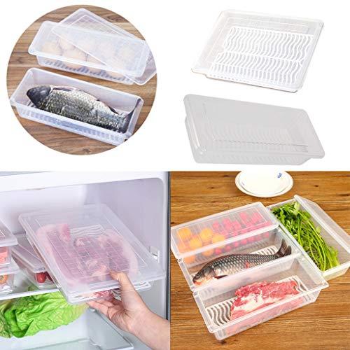 Kühlschrank Aufbewahrungsbox Frischebox - Wiederverwendbare Kühlschrankbehälter mit Deckel durchsichtig und Ablaufplatte - Gefrierbox für Fleisch, Gewürze, Gemüse und Mehr (A)