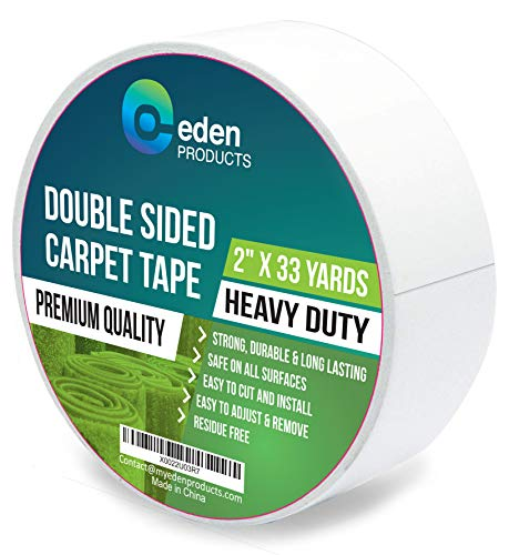 EdenProducts Double Sided Sticky Carpet Tape for Area Rugs, Carpets & Mats - Heavy Duty Multi Purpose Cloth Rug Gripper, Hardwood Safe & Removable - Indoors & Outdoors - 2