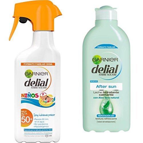 Garnier Delial Spray Protector Niños IP50 con Leche Hidratante After Sun - Total: 700 ml