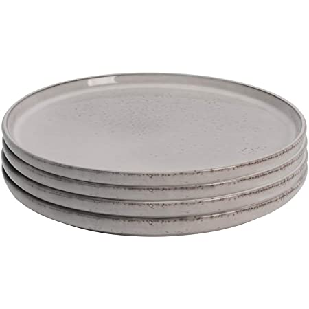 ProCook Oslo - Vaisselle de Table en Grès - 4 Pièces - 22cm - Petite Assiette - Glaçure Réactive - Gris