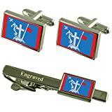 Select Gifts Hydra City Greece Flag Cufflinks Engraved Tie Clip Set
