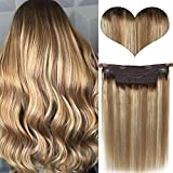 Halo Hair Extensions Clip in Human Hair Balayage Hidden Crown Hair Extensions Ombre Halo Hairpieces Ash Brown Highlights Blonde Fish Wire Hair Extensions One Piece Weft Silky Straight for Women 20Inch