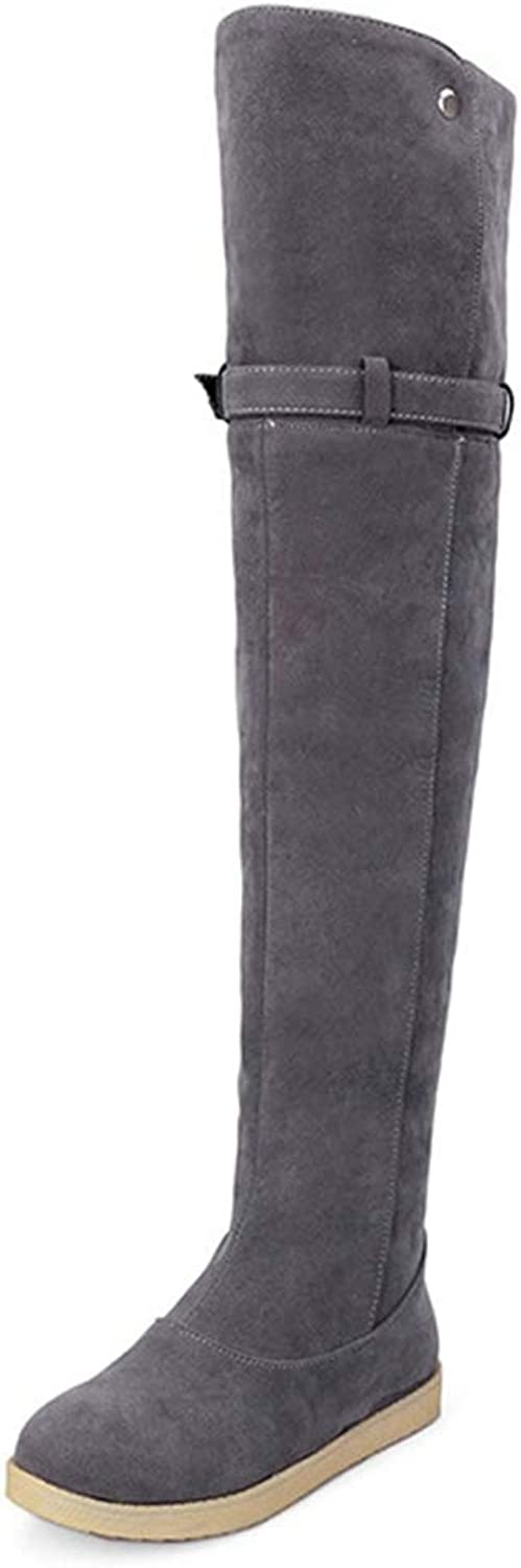 CYBLING Women's Over The Knee Boots Fold Cuff Buckle Strap Full Fur Lined Flat Winter Warm Sonw Boots