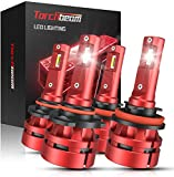 Torchbeam T2 9005 H11 LED Headlight Bulb Kit, High Beam Low Beam, 14000lm 6500K Cool White, 400% Brightness, Compact Design, Replacement Bulbs, Pack of 4