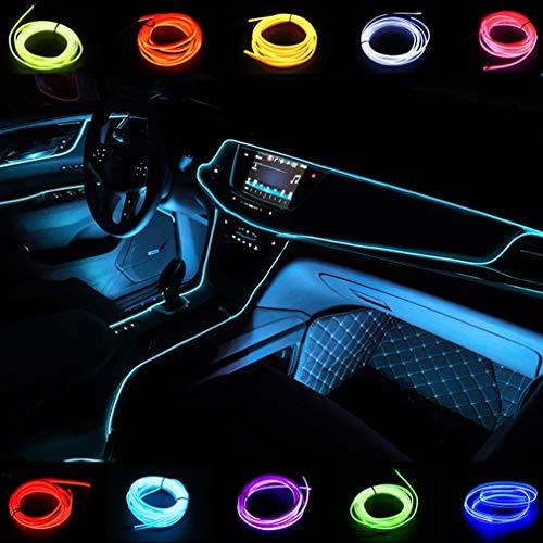 USB-Lichtkabel El-Kabel 2M/6FT Neonröhrenleuchten Auto-Innenverkleidung Lichtleiste DC 5V Flexible LED-Leuchten für Autodekor (Eisblau)
