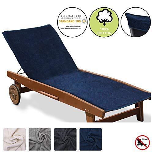 Beautissu Marbella XL Handtuch für Liegestuhl mit Antirutschfunktion Sporthandtuch mit Befestigung für Geräte Oeko TEX Frottee Schonbezug Sonnenliege Handtuch 70x200cm Blau