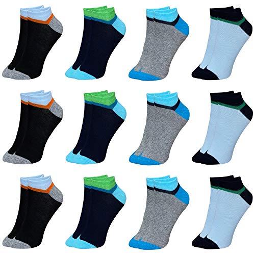 LOREZA ® 12 Paar Kinder Jungen Mädchen UNI Baumwolle Socken Kindersocken (33-36, Modell 2)