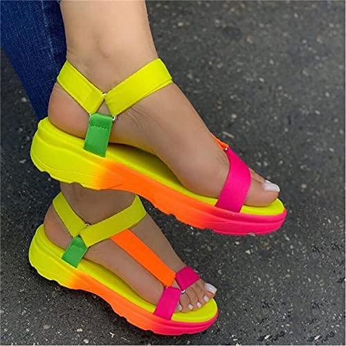 WEDFGX Zapatos Casuales de Gran tamaño 43 mujersandalias cómodas Planas para mujerSandalias Ligeras para Mujer