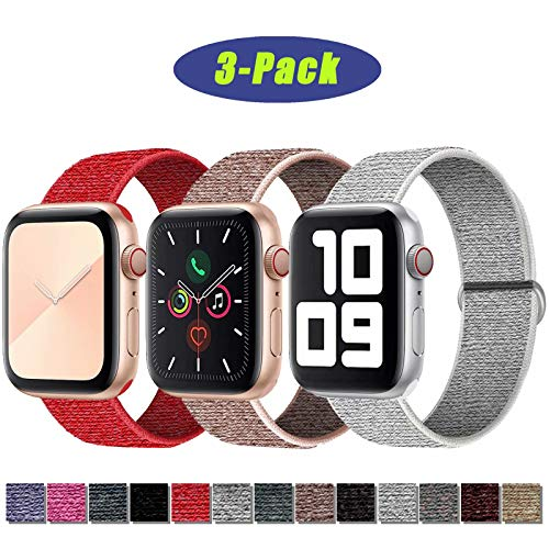 SSEIHI Kompatibel mit Apple Watch Armband 42mm 44mm,Soft Sport Loop Leichter Atmungsaktiver Nylon Armband Für die iWatch Serie 5/4/3/2/1, Sport+, Edition,Red/Pink/White