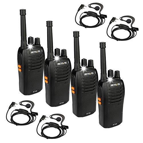 Retevis RT46 Walkie Talkie Recargable, 16Canales PMR446 sin Licencia, Linterna LED, Soporte para Li-on Batería / 3AA Batería, Walkie-Talkie con Auriculares (Negro, 4 Piezas)