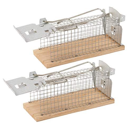 Gardigo - Trampas para Ratones Vivos Sin Muerte; Captura y Caza Humano (no daña al ratón); Reutilizable; para Interior y Exterior; 15 x 6 x 7,5 cm; 2 Unidades