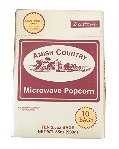 Amish Country Popcorn - Ladyfinger Butter Microwave Popcorn -10 Pack- with Recipe Guide