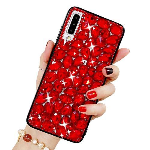 Bling Glitzer Hülle für Galaxy A70, Misstars 3D Diamant Strass Handyhülle Transparent Hart PC Rückschale mit Silikon TPU Rahmen Schutzhülle für Samsung Galaxy A70, Rot