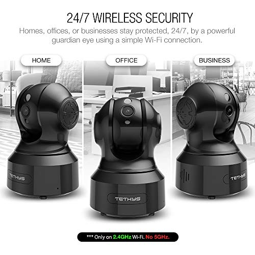 TETHYS Wireless Security Camera 1080P Indoor [Work with Alexa] Pan/Tilt WiFi Smart IP Camera Dome Surve   illance System w/Night Vision,Motion Detection,2-Way Audio,Cloud for Home,Business, Baby Monitor