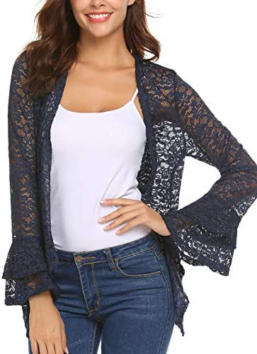 Deawell Lace Crochet Cardigan for Women Evening Party Shrug for Dresses Sheer Covers Navy Blue product image