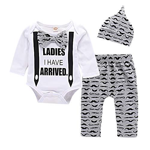 Yilaku Conjunto de Ropa Bebés Body y Pantalones y Gorra Estampado de Barba Ropa Bebe Recien Nacido Nino