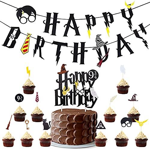 Harry Potter Cake Topper - Miotlsy 17 Pezzi Wizard Decorazione per Torte di Compleanno Harry Potter Toppers Torta Compleanno Banner Decorazione per Festa di Compleanno e Baby Shower
