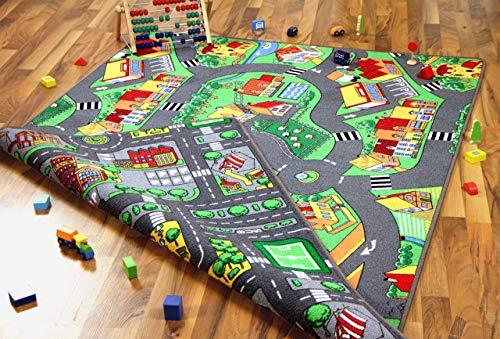 Lernen und Spielen Straßenteppich Beidseitig Little Village Metropolis, Größe:100x165 cm