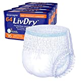 LivDry Adult L Incontinence Underwear, Overnight Comfort Absorbency, Leak Protection, Large (64 Count)