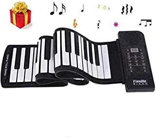 Electronic Piano Keyboard, Portable 61-Keys Roll Up Soft Sil