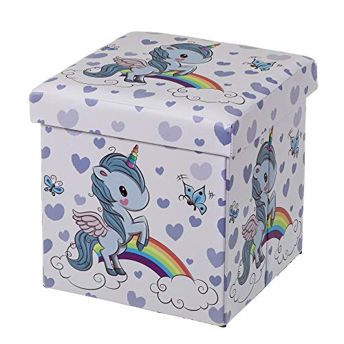 Púff Unicornio Azul Infantil de Madera tapizado de 38x38x38 cm - LOLAhome