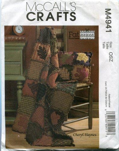 McCall 's Crafts patrón M4941textiles français rústico colcha y almohada