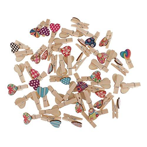 Gazechimp 50er Holzklammern Wäscheklammern   kleine wäscheklammern Set für Fotos Geschenke Dekoration - Farbe1