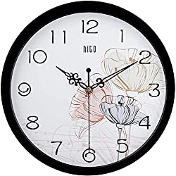 hito Silent Floral Wall Clock Non Ticking 10 inch Excellent Accurate Sweep Movement Glass Cover, Decorative for Kitchen, Living Room, Bathroom, Bedroom, Office (Lotus Black)