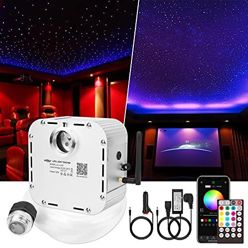 CHINLY Bluetooth 32W RGBW Twinkle LED Kit de luces de techo de estrella de fibra óptica APLICACIÓN / Control remoto 1000pcs * 0.75mm * 5m + 10 cristales para el hogar / el automóvil
