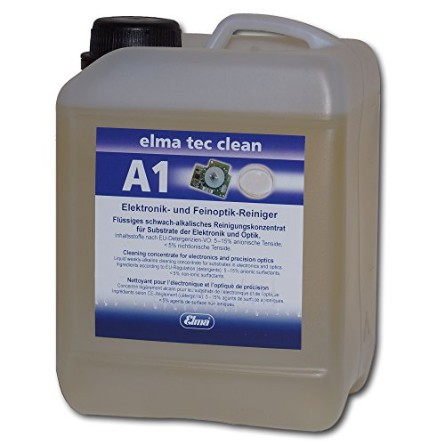 Elmasonic 800 0102 Elma TEC Clean A1 Ultrasonic Cleaner Solution Concentrate for Electronics and Optics- Powerful Cleaning Fluid for Industrial Use