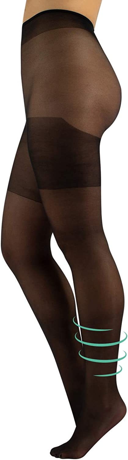 Support Plus Size Pantyhose | Medium Compression Tights Curvy | L, XL, XXL | Black | 40 DEN | Made in Italy