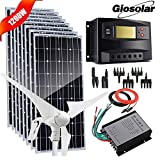 Wind Solar Power Off Grid - Kit de carga de batería de 12 V 24 V para el hogar, garaje, jardín, granja, cabina de fábrica