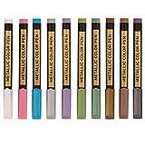 KingbeefLIU Metallische Zeichenstifte, 10 Farben/Set von neutralen Metall-Markern auf Wasserbasis, für Bastelarbeiten, Fotoalbum, Marker, schwarzer Karton, Schreibwarenbedarf, mehrfarbig