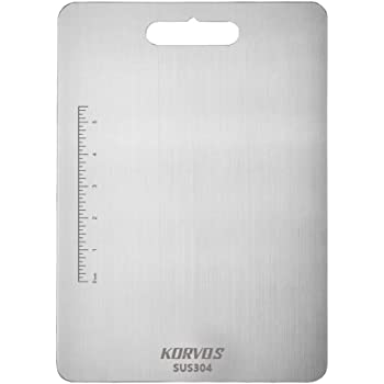 KORVOS 304 Food-Grade Stainless Steel Cutting Boards for Kitchen, Butcher Block Board for Meat, Cheese, Vegetable, Heavy Duty Chopping Board, Easy to Clean
