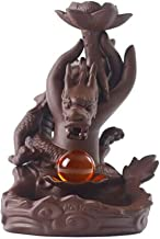 NOLOGO Qyzs-mhb Ceramic Incense Burner, Shenlong Spit Beads Incense Burner, Ornamental Reflow Incense Burner, Home Living Room Tea Room Decoration (Color : Brown, Size : 10.518.5cm)
