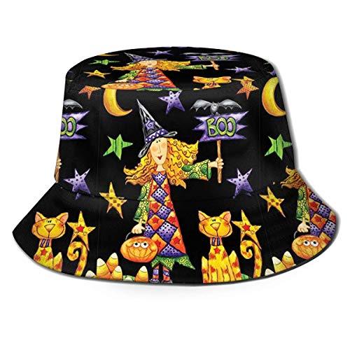 DCVFB Boo Hexe Halloween Garten Eimer Kappe Fischerhut Camping Outdoor Sonnenschutz Faltbare Hüte