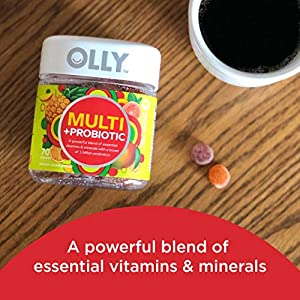Olly Adult Multivitamin, Probiotic Gummy, 1 Billion CFUs, Digestive and Immune Support, Chewable Supplement, Tropical Flavor, 35 Day Supply - 70 Count