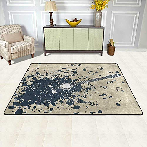Rugs Modern, Acoustic Guitar Notes Soft Kids Room Rug Decorative Floor and Best Gift for Children 5 x 7 Feet