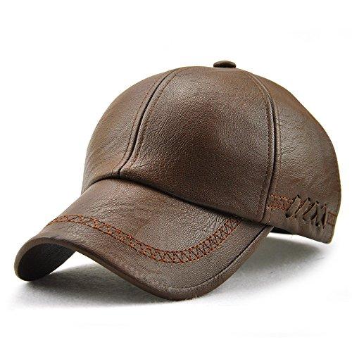 Ueither Herren PU Leder Baseballmütze Schirmmütze Kappe Herbst und Winter Baseballkappe Hut