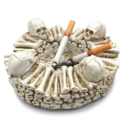 Ashtrays Skull Ashtray Spooky Human Skull Spooky Skeletons & Skull Ashtray and Crossbones Ashtray Gifts for Smokers,As Smoking Room Decor Gifts for Smokers