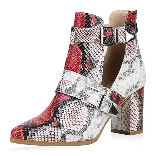 SCARPE VITA Damen Stiefeletten Ankle Boots Snake Print Booties High Heels Blockabsatz Schuhe Cut Out Kurzschaft-Stiefel 192414 Dunkelrot Weiss Schwarz Snake 37