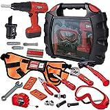 JOYIN Juego de 24 herramientas de construcción para niños con funda de transporte para taller, cinturón de disfraz de trabajador de construcción, taladro eléctrico y otros accesorios de juguete
