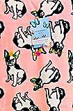 Cynthia Rowley Home French Bulldog Frechie Pink Velvet Soft Plush Throw Blanket | 60