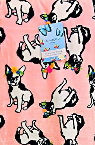 Cynthia Rowley Home French Bulldog Frechie Pink Velvet Soft Plush Throw Blanket | 60' x 70'