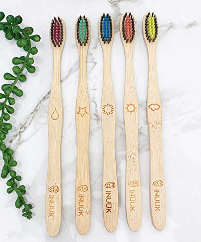INUUK Eco-Friendly Biodegradable Bamboo Toothbrush – 5 Pack - Ergonomic Bamboo Handle - BPA Free Charcoal Coated Soft Bristles - Earth Kind, Adult Size, Natural