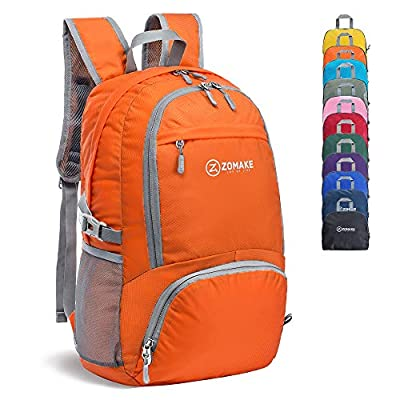 ZOMAKE 30L Lightweight Packable Backpack Water Resistant Hiking Daypack,Small Travel Backpack Foldable Camping Outdoor Bag Orange