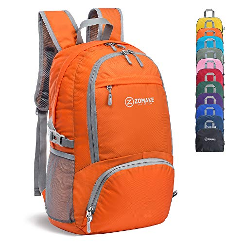 ZOMAKE 30L Lightweight Packable Backpack Water Resistant Hiking Daypack,Small Travel Backpack Foldable Camping Outdoor Bag (Orange)